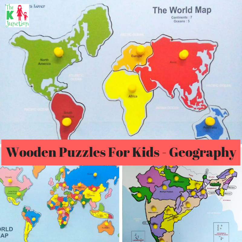 Wooden Knobbed Puzzles - Geography For Kids - Review